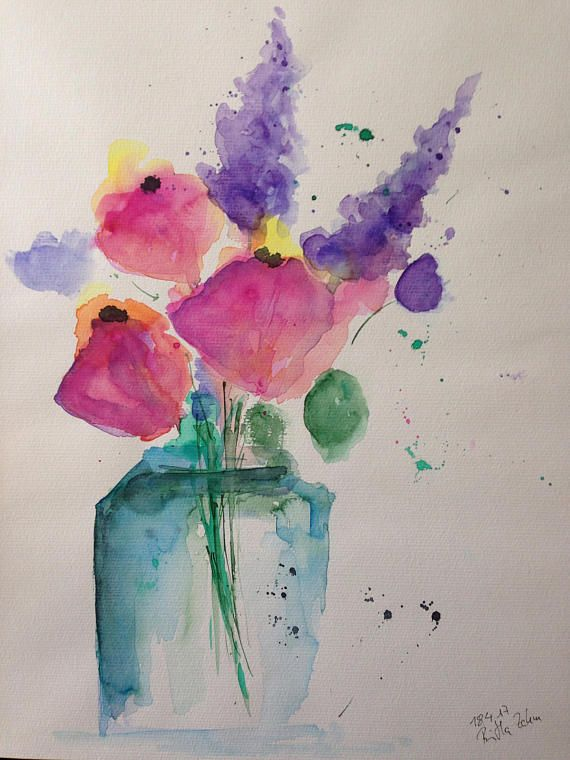 Original Watercolor Art Watercolor Painting Flowers In The Vase