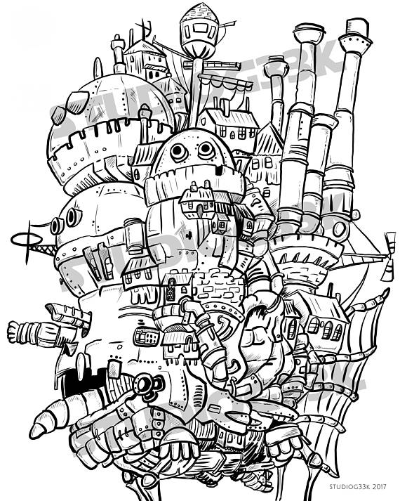 Digital Howls Moving Castle Printable Coloring Sheet In