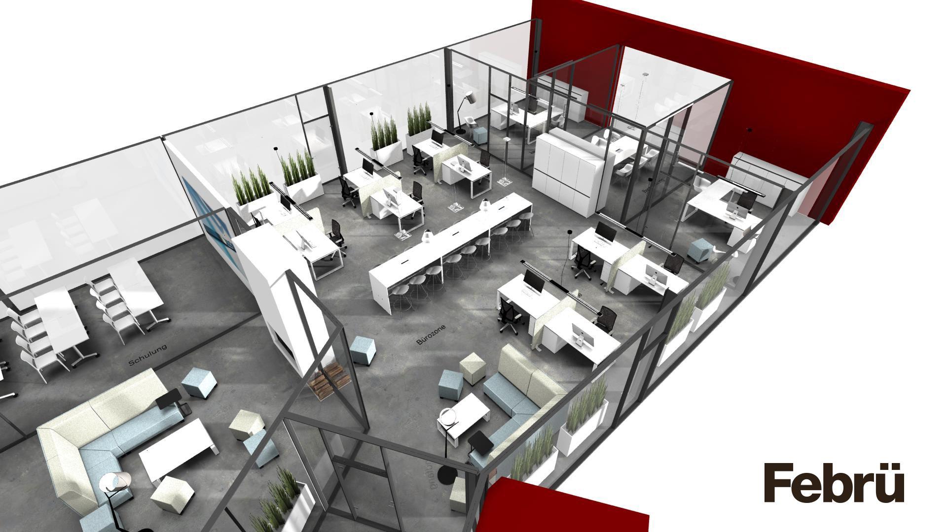 grundriss b ro modernes open space b ro mit gro z gigen konferenztisch der platz f r 18. Black Bedroom Furniture Sets. Home Design Ideas