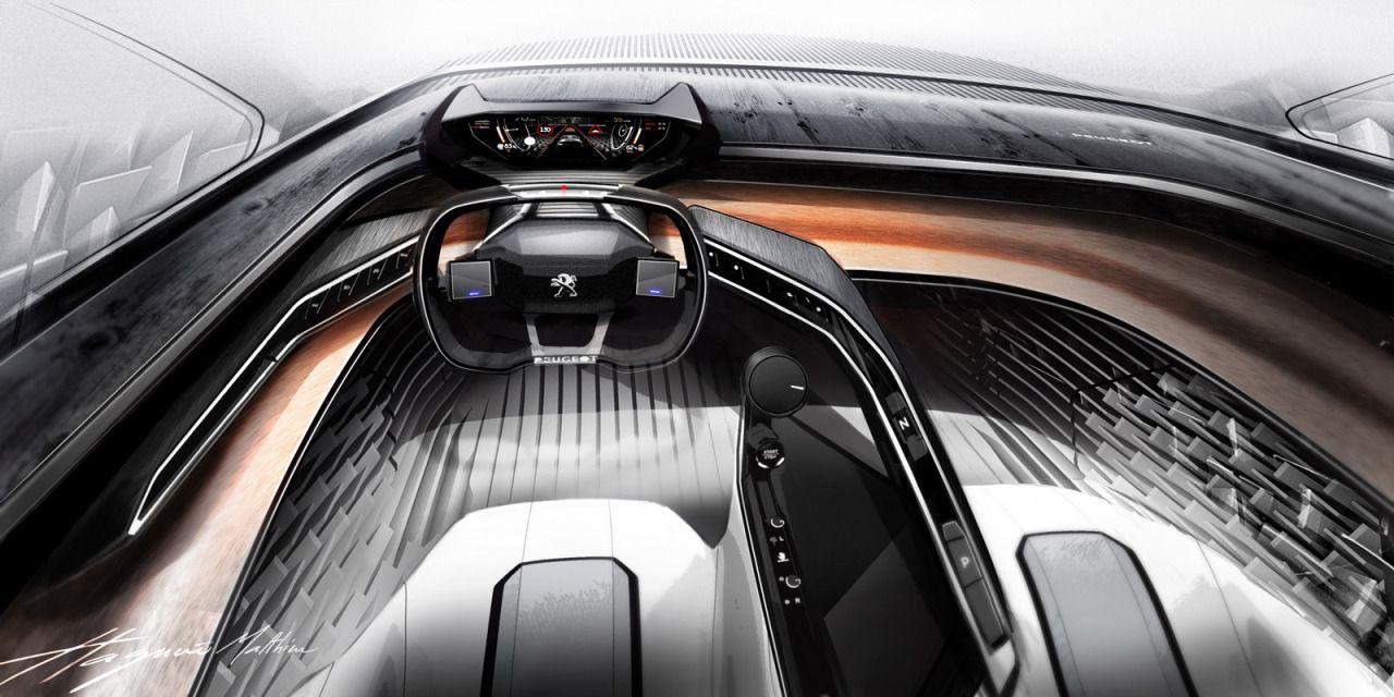 Peugeot fractal concept interior design sketch by matthieu