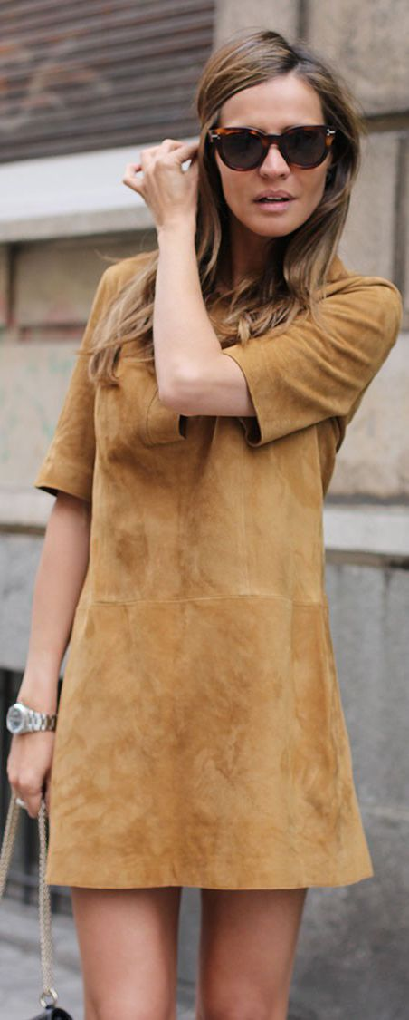 29fc2df2 Suede Dress Outfit: Silvia Zamora is wearing a camel suede mini dress from  Zara