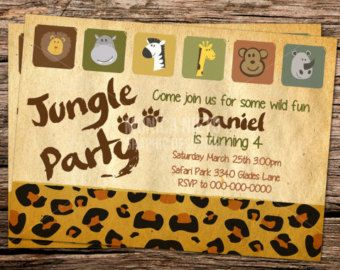 Custom Printable Jungle Zoo Safari Birthday Invitation Template