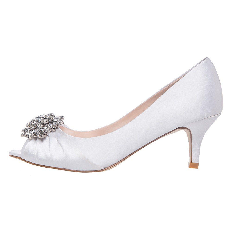 Shesole Womens Low Heel Dress Pumps Rhinestone Open Toe Wedding
