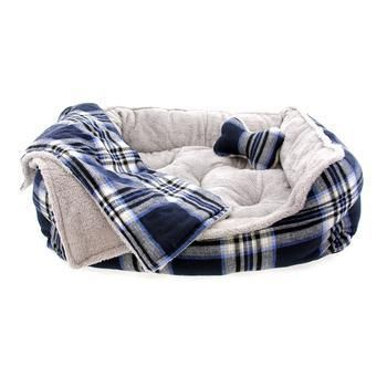 Blue Dog Blanket and Pillow Set