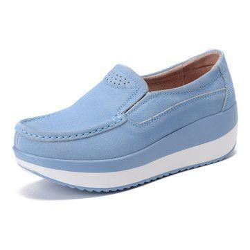 Large talla Rocker Sole Zapatos Suede Slip On Casual Zapatos Sole Zapatos 38a113