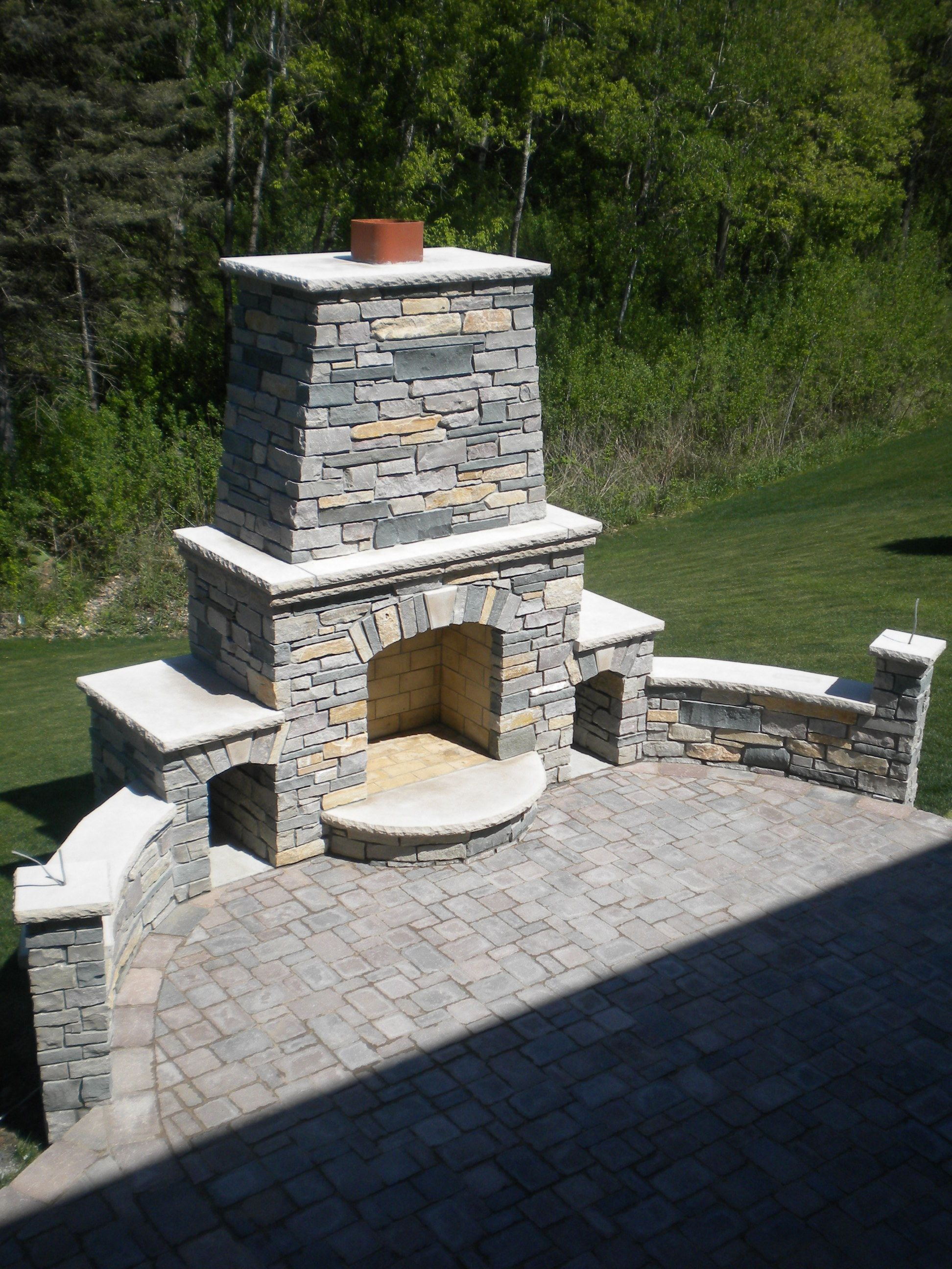 outdoor fireplace with chilton and bluestone blended natural stone and limestone caps outdoor on outdoor kitchen natural id=44646