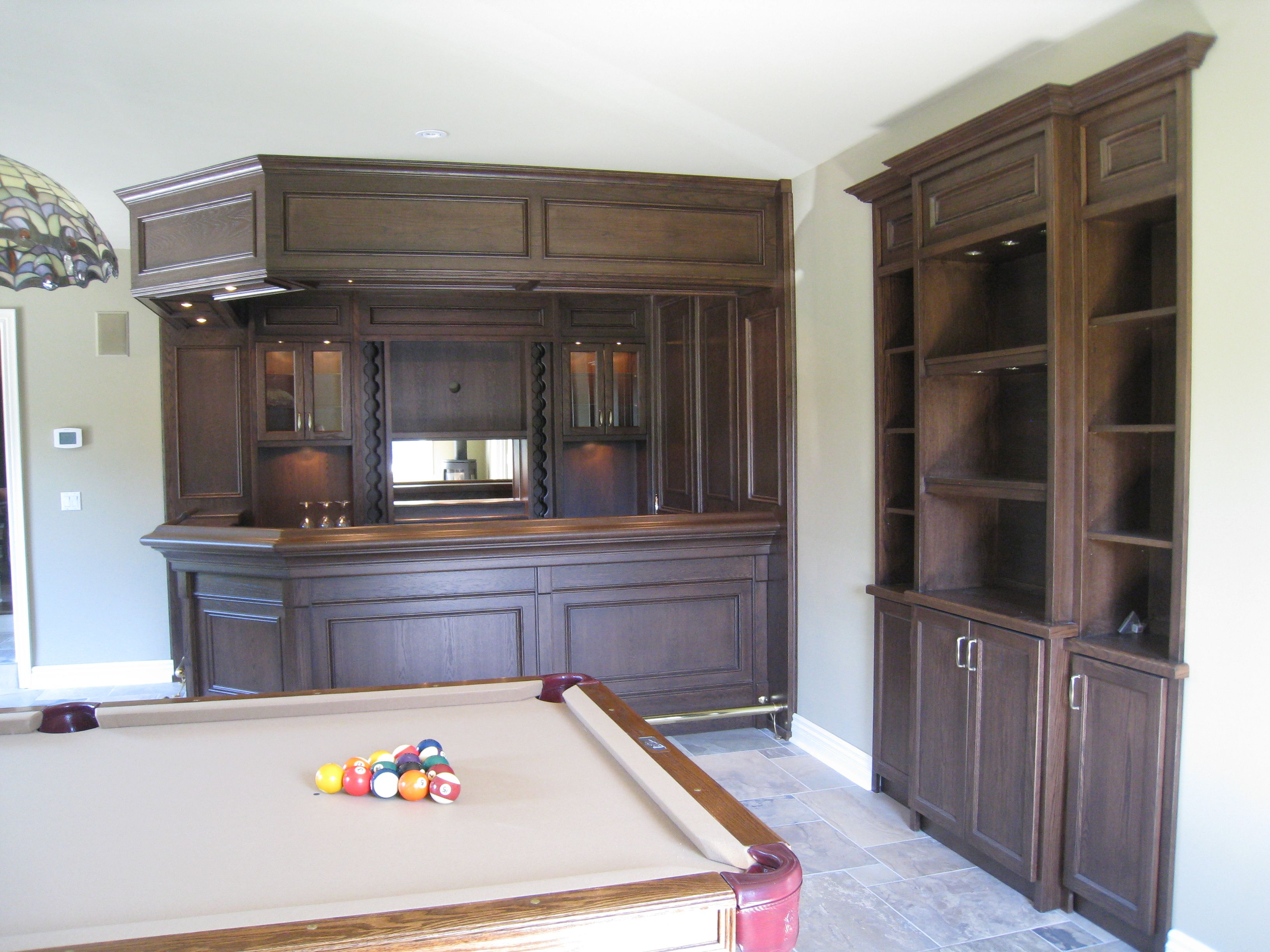 Home bar custom oak bar with canopy and wall unit to