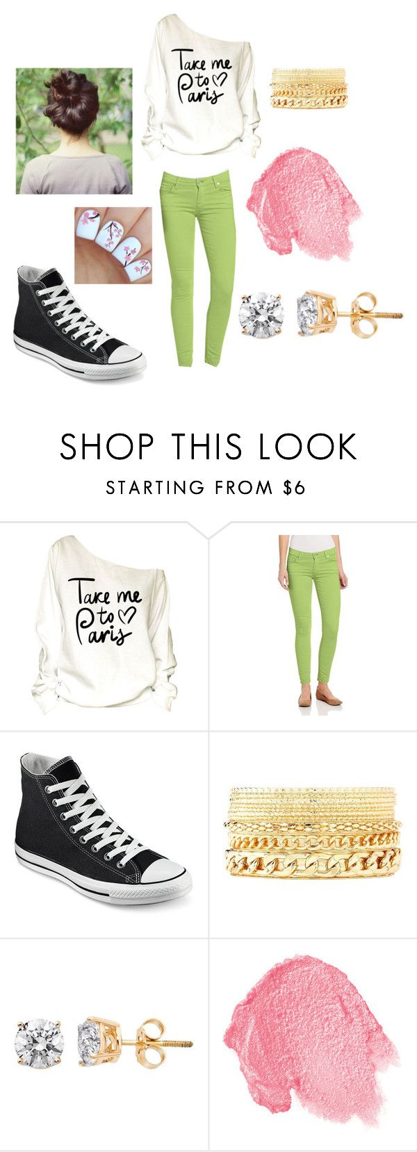 """""""Running late outfit"""" by larak24 ❤ liked on Polyvore featuring 7 For All Mankind, Converse, Charlotte Russe and NARS Cosmetics"""