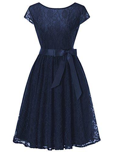 HENCY Damen Spitzen Kleid Festlich Partykleid ...
