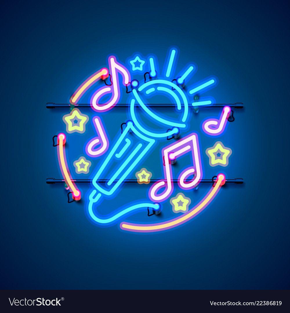 Neon label music karaoke banner vector image on