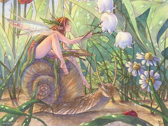 Fairy Art Print Artist Garden Fairy Painting Flowers riding Snail