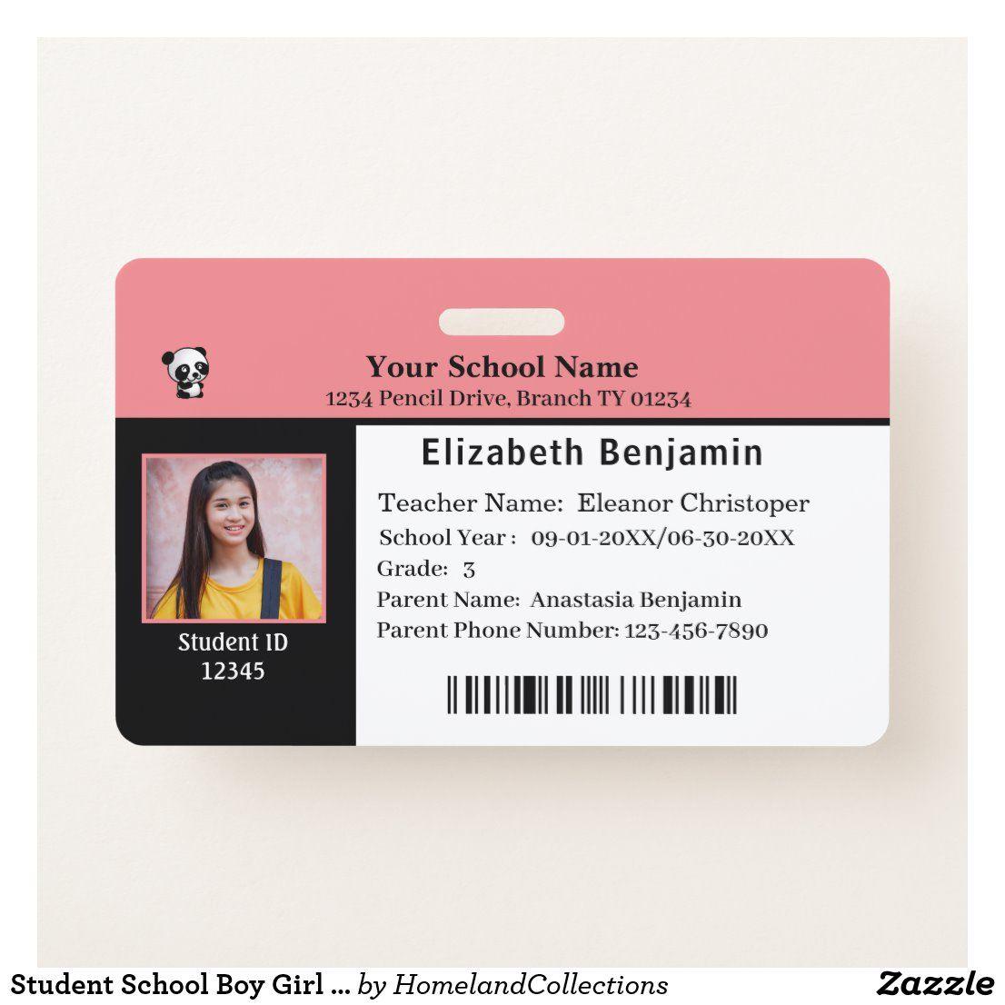 Child id identification card student school badge zazzle
