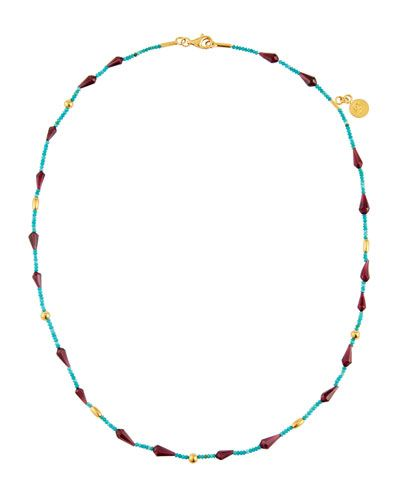 Single-Strand Turquoise & Rhodolite Beaded Necklace