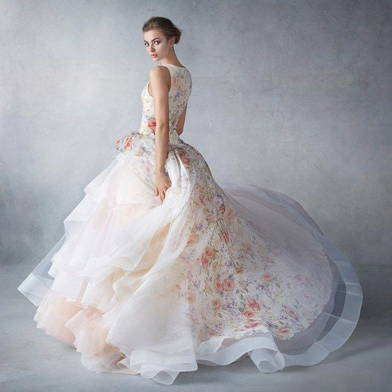 Lazaro Floral Printed Ball Gown Wedding Dress / http://www.deerpearlflowers.com/floral-wedding-dresses/