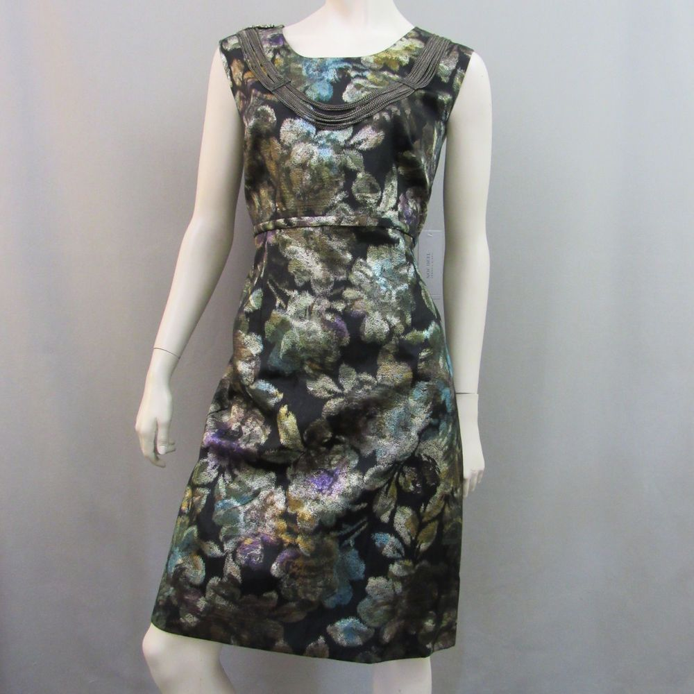 113ac341111 Teri Jon Rickie Freeman Dress 16 Sheath Black Metallic Floral Cocktail New  Tags  TeriJon