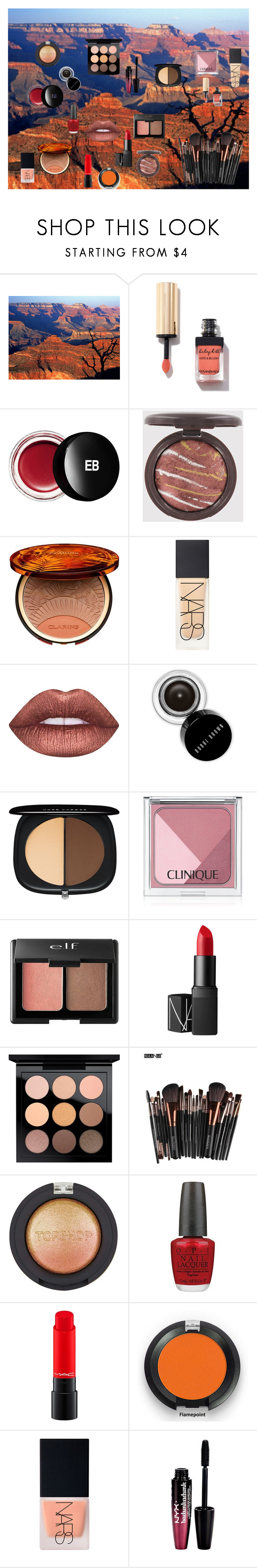 """""""Canyon Colors"""" by billiej-712 ❤ liked on Polyvore featuring beauty, Edward Bess, Clarins, NARS Cosmetics, Lime Crime, Bobbi Brown Cosmetics, Marc Jacobs, Clinique, Charlotte Russe and MAC Cosmetics"""