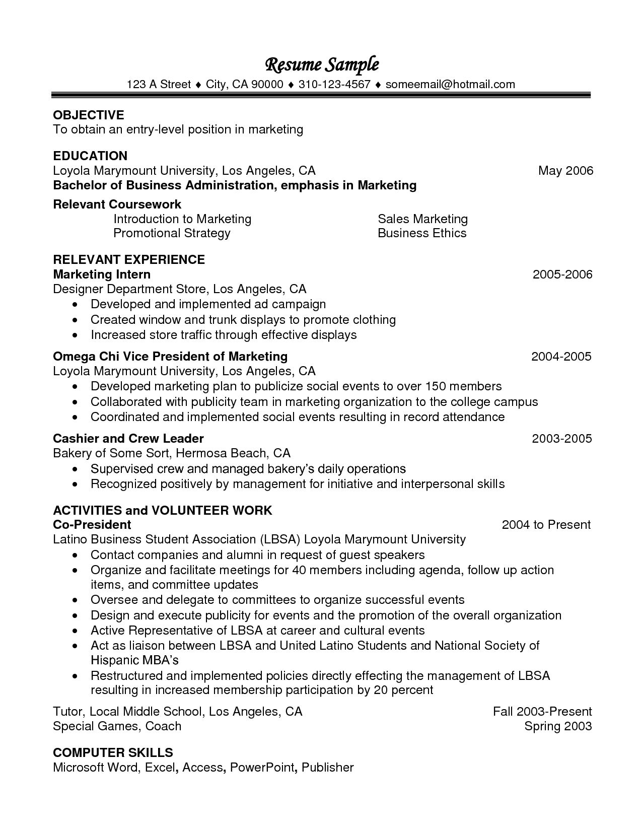 Marketing Resume Skills Relevant Coursework In Resume Example  Httpwwwresumecareer