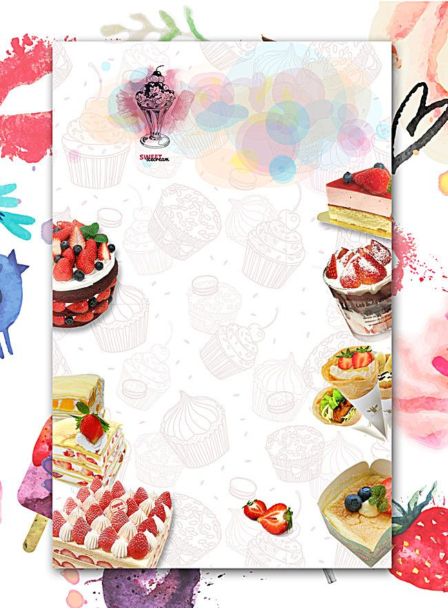 Dessert Food Posters Cake background, Bakery business