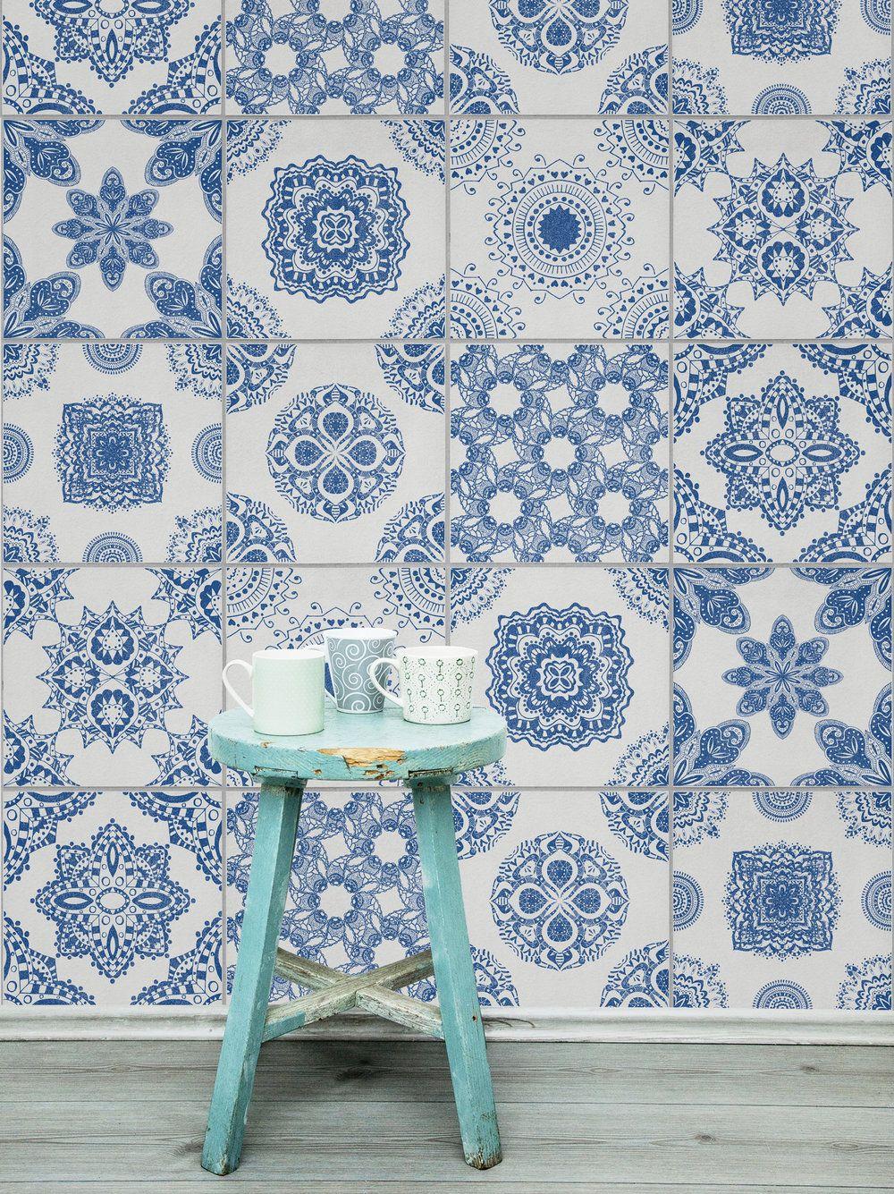 On Trend Tile Effect Wallpaper Heart Home Tile Wallpaper Mural Wallpaper Mosaic Tile Designs
