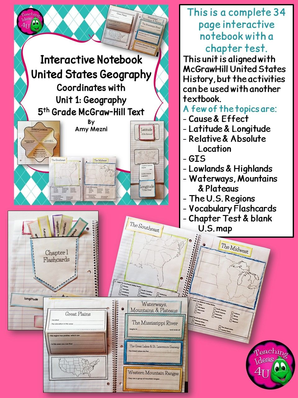 United States Geography Its Regions Interactive Notebook Test - Us geography map test