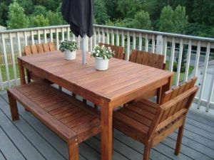 The Bench To This Table Diy Patio Furniture Outdoor Dining Table Outdoor Picnic Tables