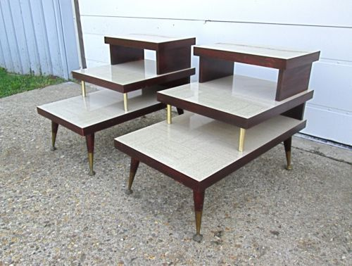 Set 2 Vtg 50s Atomic Mid Century Modern 3 Tier Formica Top Step End Tables Ebay Midcentury Modern Mcm Furniture Refinishing Furniture