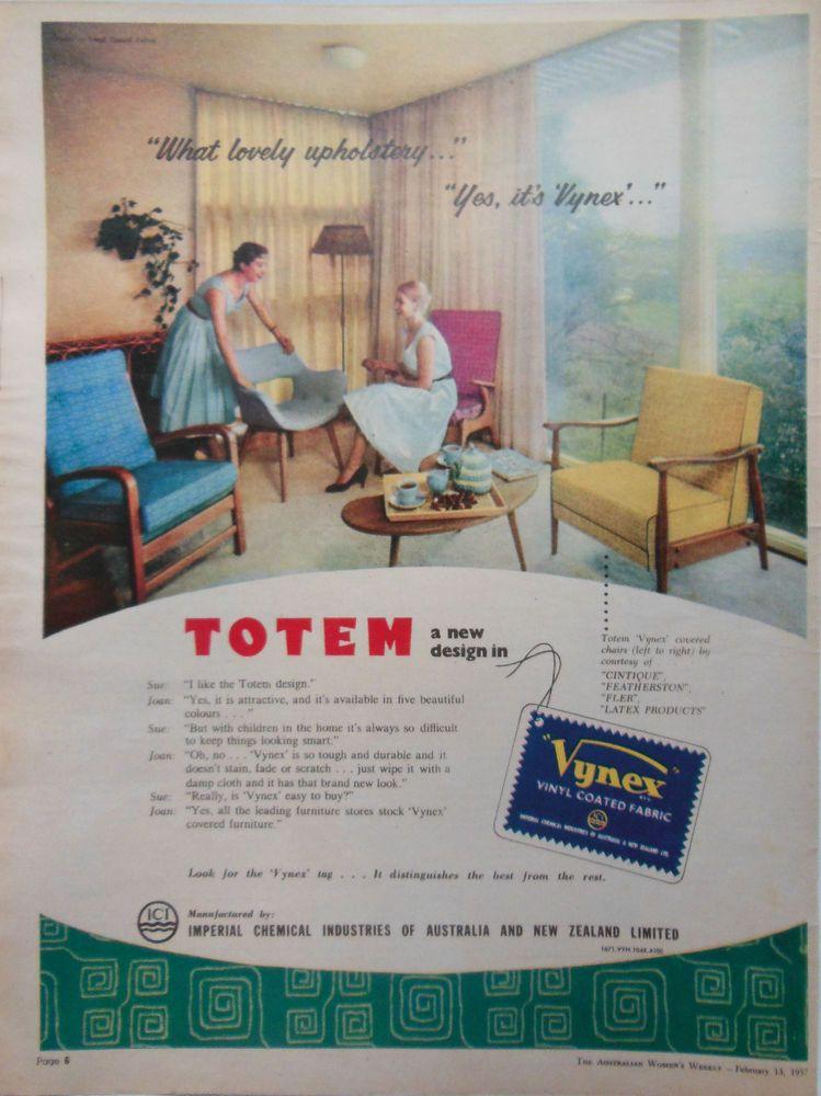 VYNEX RETRO MID CENTURY CHAIRS AD 1957 original vintage ...