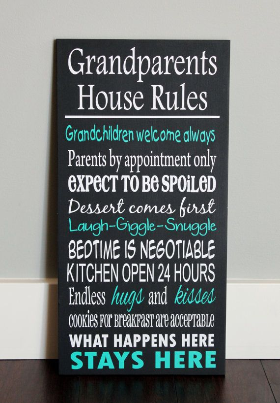 Custom Wood Sign Grandparents House Rules Gift Ideas Wood Signs