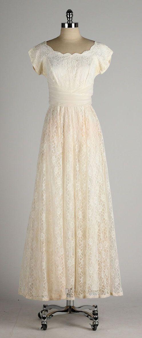 vintage 1950s dress . ivory lace . chiffon by millstreetvintage ...