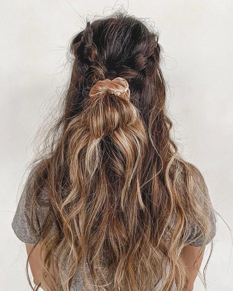 These Hairstyles Are Lovely Easy Dutch Braid Halfupdo And A Cutie Velvet Scrunchie You Can Do This We Braided Hairstyles Long Hair Styles Gorgeous Hair Color