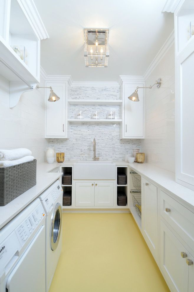 White Laundry Room With Painted Yellow Floors Shiplap Walls Mosaic Tile Backsplash Farm Style Sink Task Lighting