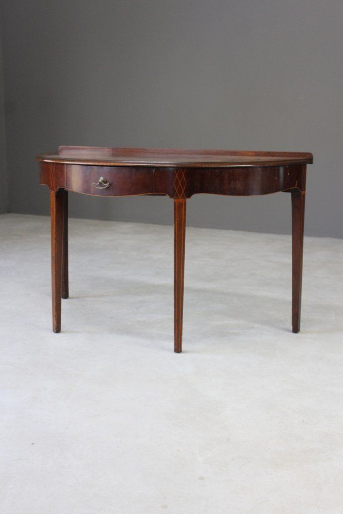 Antique Edwardian Mahogany Demi Lune Side Table In 2020