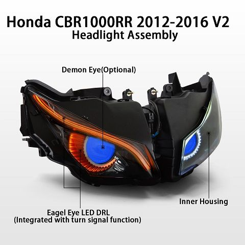 Cbr 1000rr Headlight Projector Hid Eagle Eyes 12 16 Xtreme Discount Cycle Eagle Eye Cbr Yamaha Sport