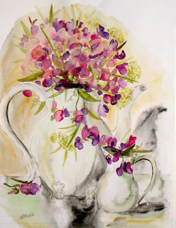 Art Contemporain Original Peinture Moderne Aquarelle Fleurs Les