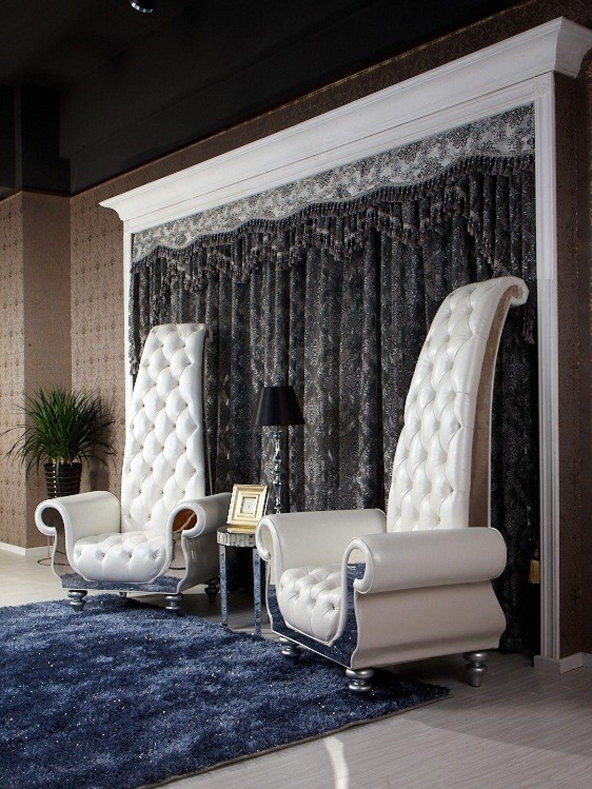 Divani Casa Luxe D6032 - Neo-Classical White Eco-Leather Leisure ...