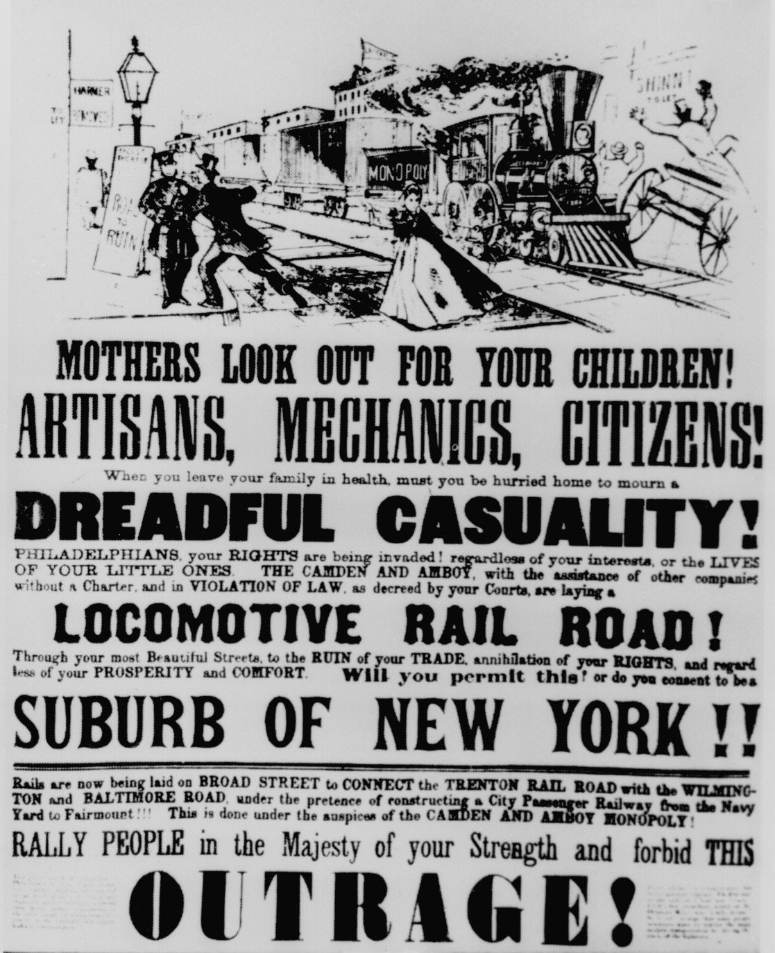 Poster Circulated In Philadelphia In 1839 To Discourage The Coming