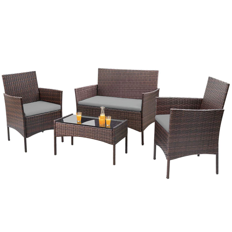 Walnew 4 Pcs Outdoor Patio Furniture Brown Pe Rattan Wicker Table