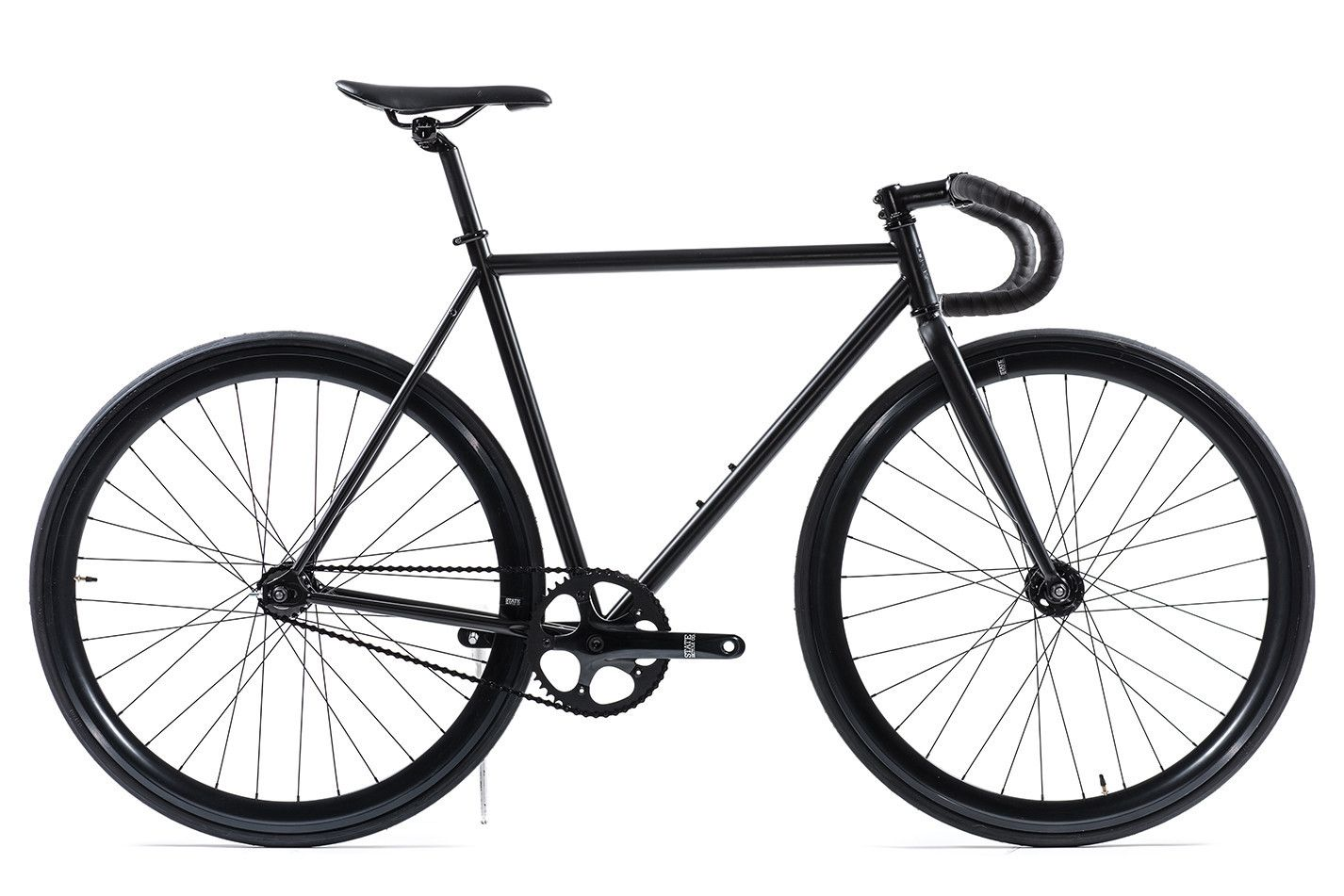 Matte black 5 fixed gear bike by state bicycle co 4130 core line fixed