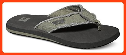 Mens Quiksilver Monkey Abyss Grey Grey Toe Post Flip Flops Size