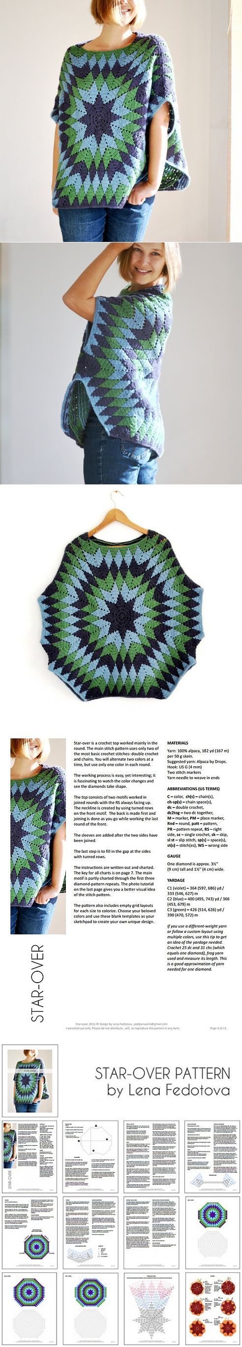 Crochet Start-over Poncho | Patrones | Pinterest | Si solo ...