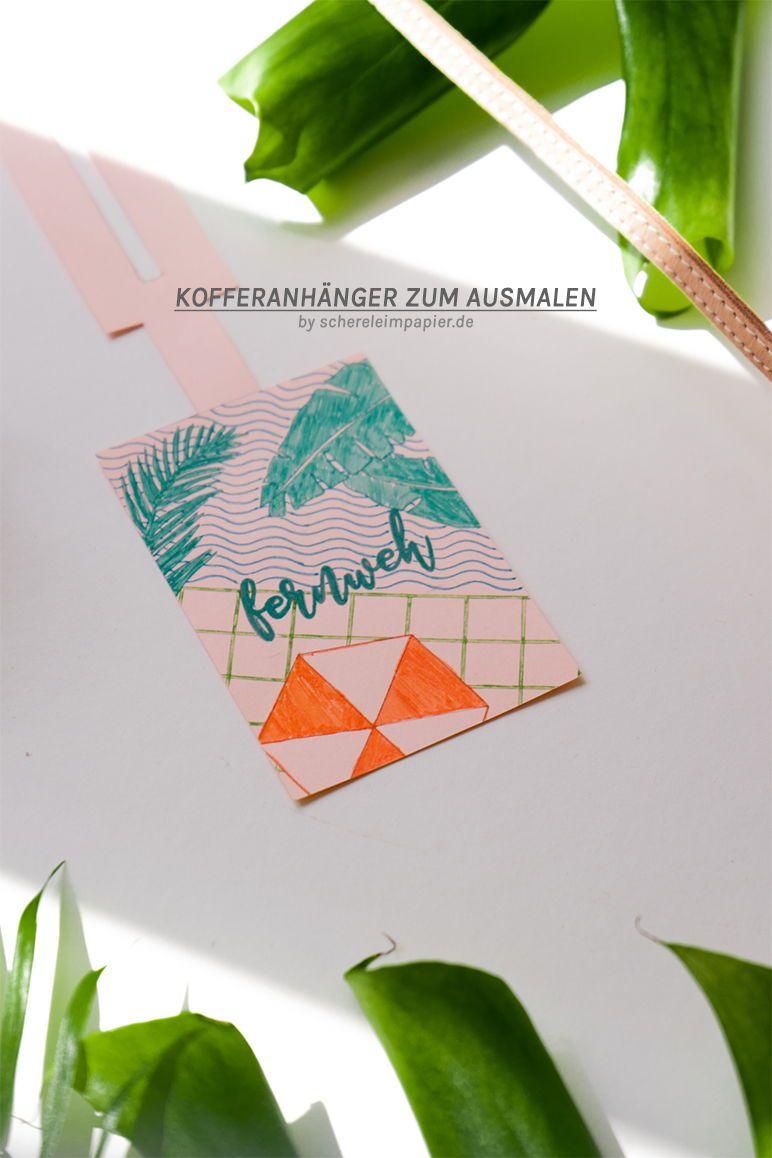 Sommer Freebie Kofferanhanger Ausdrucken Ausmalen Kofferanhanger Ausdrucken Ausdrucken Hubsche Karten