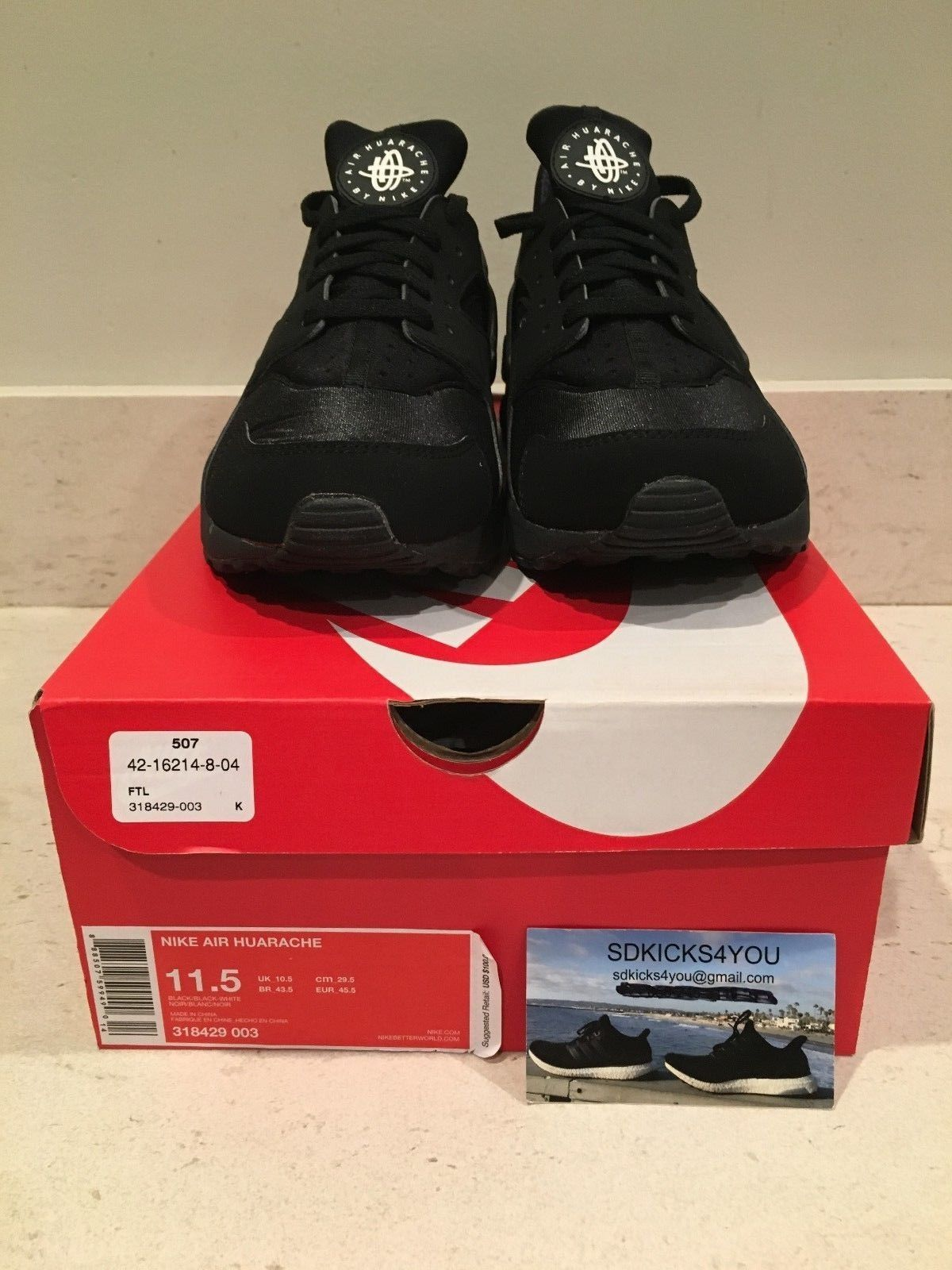 New Nike Air Huarache Triple Black Blackout Mens Running Shoes Size 11.5