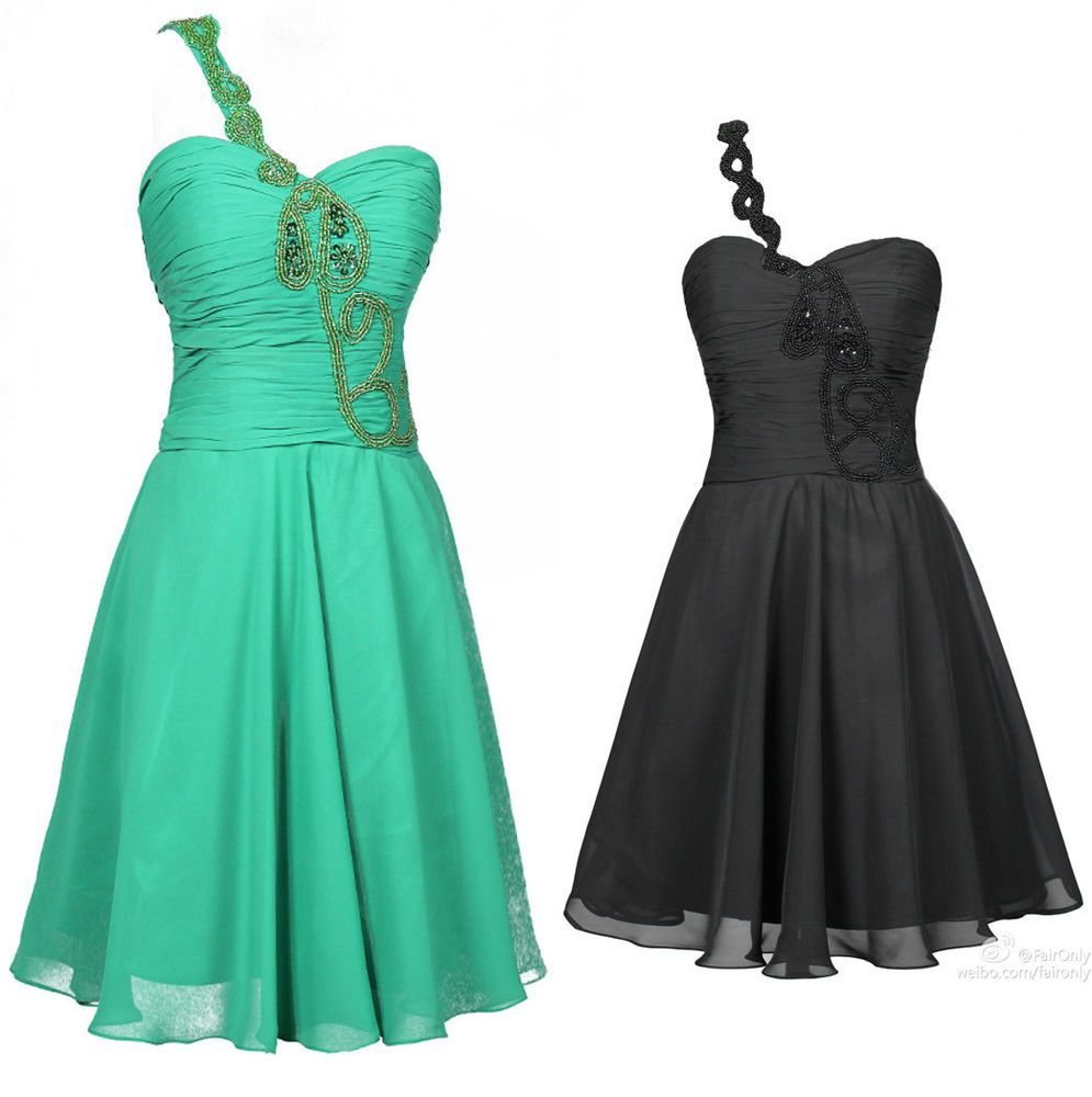 Faironly one shoulder aline above knee evening cocktail prom dress