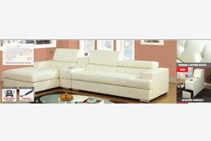 Modern White Leather Sectional Sofa Chiase Console Bluetooth Speaker Sectional Sofa Living Room Style Large Home Office Furniture