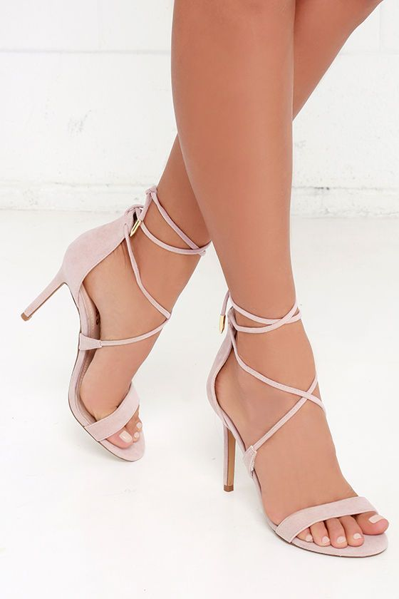 41802b7cbd3 Romy Dusty Rose Lace-Up Heels | My Style | Shoes, Prom shoes, Heels