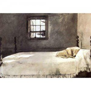 """Master Bedroom by Andrew Wyeth - Small Unframed Print, from Dogstuff.com. A yellow Labrador Retriever sleeps on Master's bed while awaiting his return.  This small unframed print of American Artist Andrew Wyeth's watercolor painting measures 15.75""""H x 19""""W; image size measures 10.75""""H x 15""""W..."""