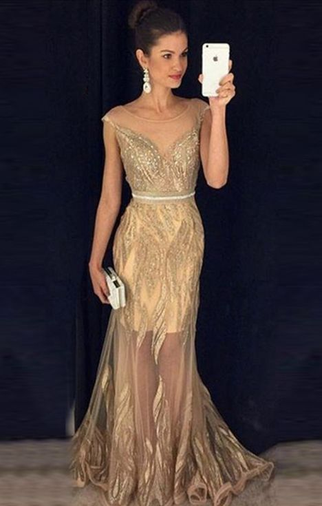 Beaded sheath prom dresses