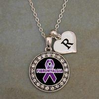 Custom Initial Fibromyalgia Awareness Necklace