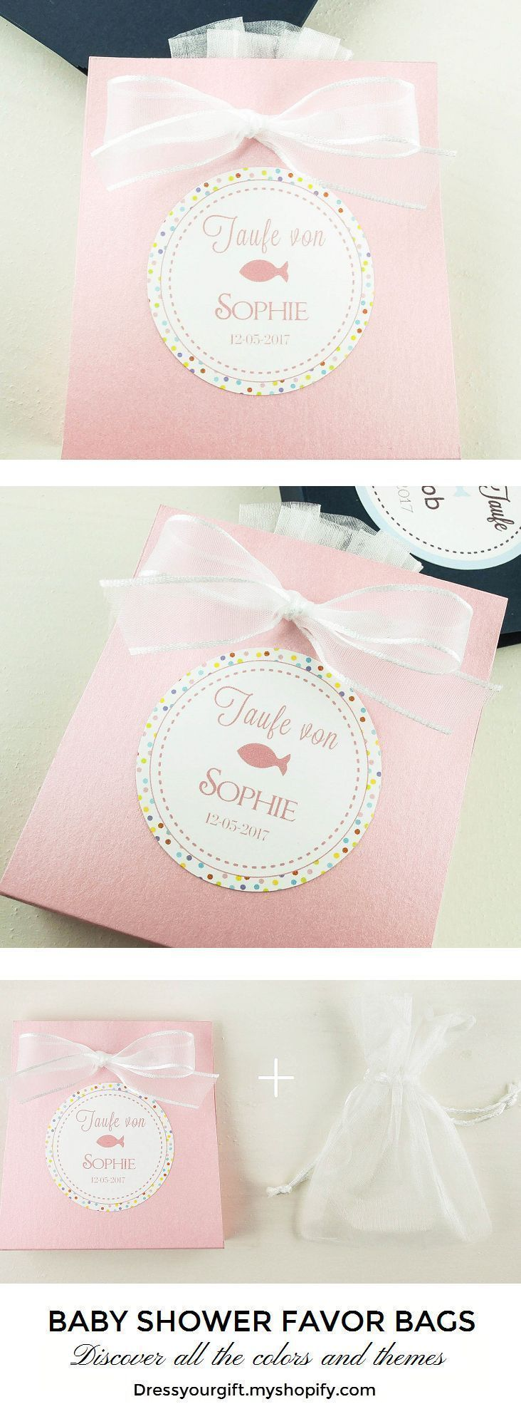 Set of 10 Baby Shower Favor Bags for girl with organza bag | Organza ...