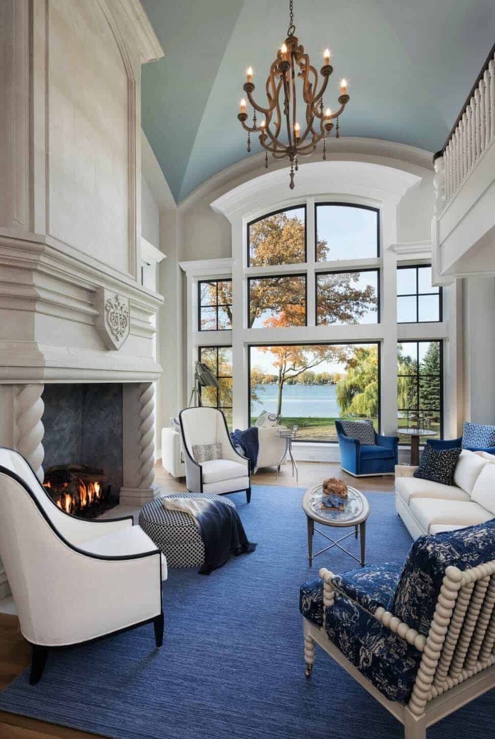 french chateau inspired home nestled on beautiful lake on living room color inspiration id=90615